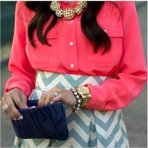 J. Crew Blythe Silk Blouse in Bright Pink Size 8